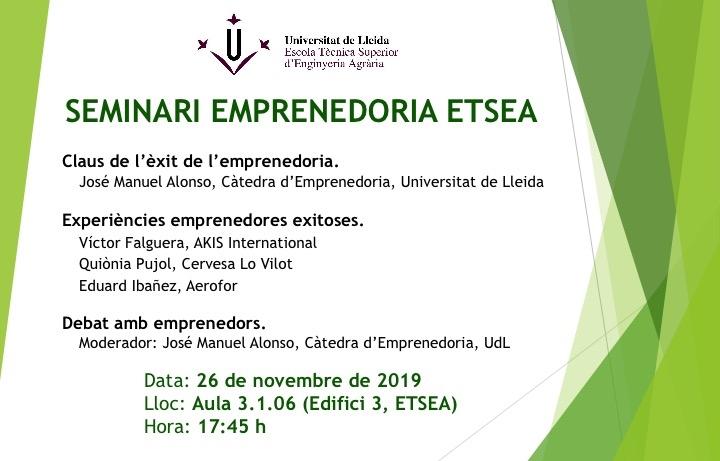 Cartel del Seminario Emprendimento en ETSEA